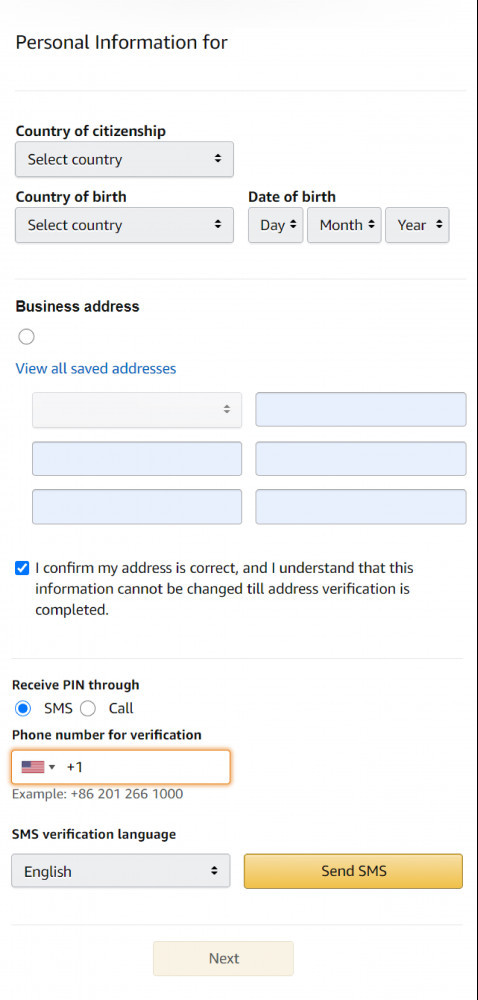 How To Sell On Amazon For Beginners Country of citizenship Country of birth Date of birth Address of Business/Individual Active phone number for verification.
